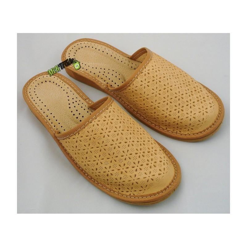 712f72d133584 ... Damskie skórzane rozmiar 40 klapki kapcie ciapy laczki góralskie łapcie  pantofle domowe zakryte palce