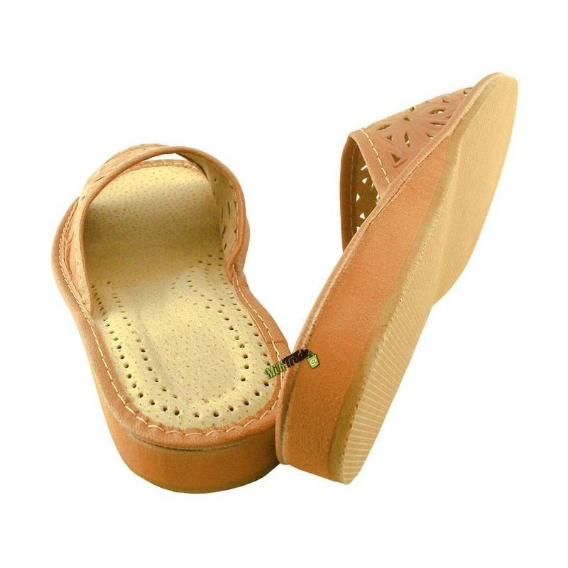 b492134acc567 ... Damskie skórzane rozmiar 38 klapki kapcie ciapy laczki góralskie  pantofle papcie łapcie domowe odkryte palce ...