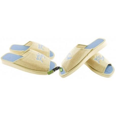 METEOR damskie rozmiar 38 klapki kapcie ciapy pantofle laczki domowe łapcie damskie materiałowe odkryte palce