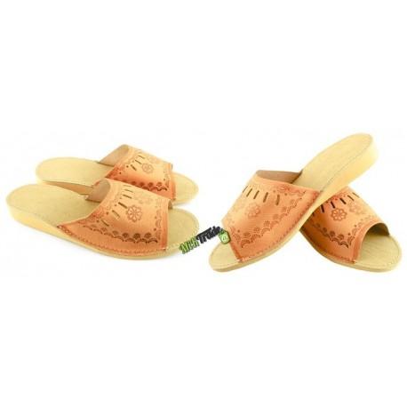 Damskie skórzane rozmiar 36 klapki kapcie ciapy laczki góralskie pantofle papcie łapcie domowe odkryte palce