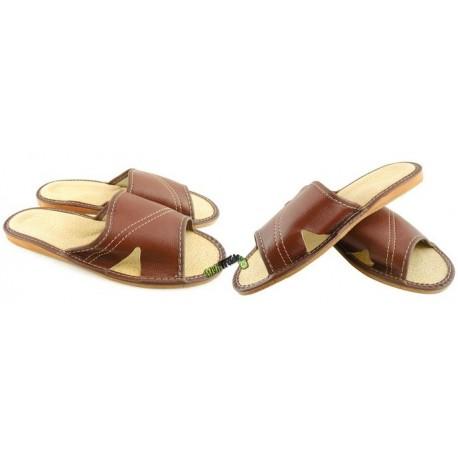 Męskie skórzane rozmiar 42 klapki kapcie ciapy laczki góralskie pantofle domowe łapcie papcie odkryte palce