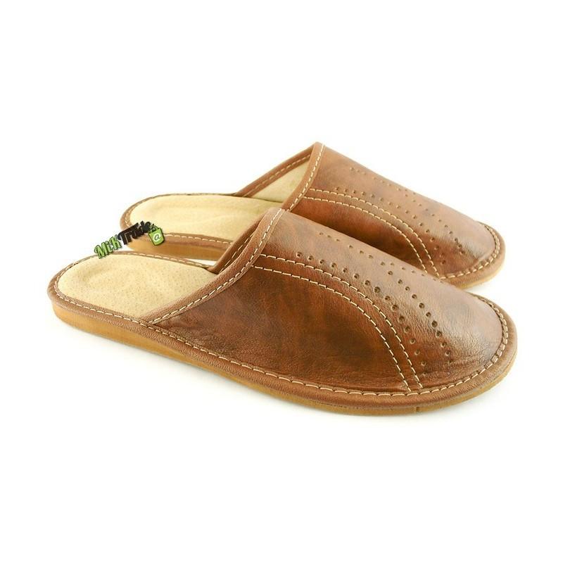 aa19b66f532d9 Męskie skórzane rozmiar 44 klapki kapcie ciapy laczki góralskie pantofle  domowe łapcie papcie zakryte palce ...