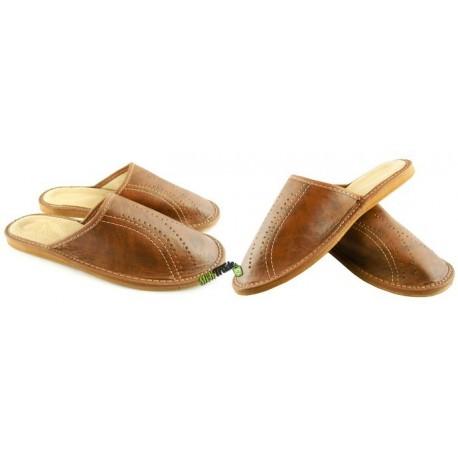 Męskie skórzane rozmiar 44 klapki kapcie ciapy laczki góralskie pantofle domowe łapcie papcie zakryte palce