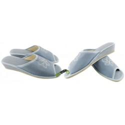 METEOR damskie na koturnie rozmiar 38 klapki kapcie ciapy pantofle laczki domowe materiałowe odkryte palce