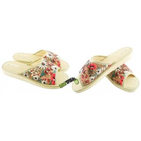 METEOR damskie rozmiar 37 klapki kapcie ciapy pantofle laczki domowe łapcie damskie materiałowe odkryte palce KOK315