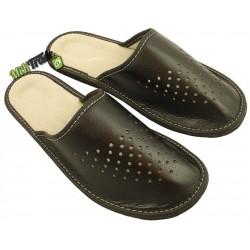 Męskie skórzane rozmiar 43 klapki kapcie ciapy laczki góralskie pantofle domowe łapcie papcie zakryte palce