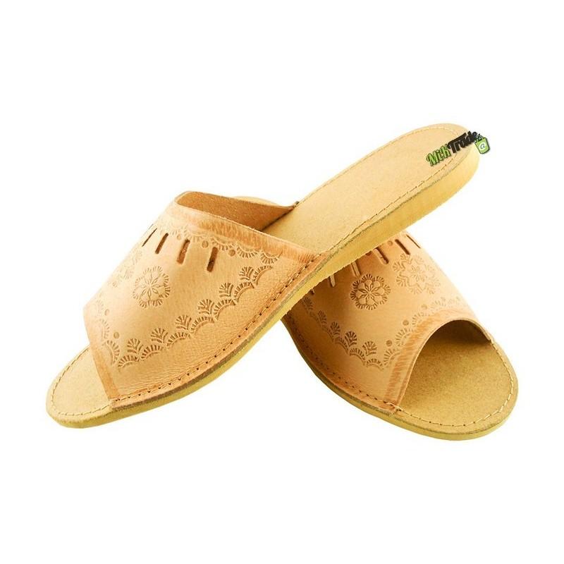4ec293dba700f ... Damskie skórzane rozmiar 35 klapki kapcie ciapy laczki góralskie  pantofle papcie łapcie domowe odkryte palce płaskie ...