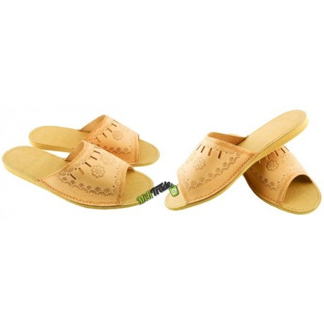 Damskie skórzane rozmiar 35 klapki kapcie ciapy laczki góralskie pantofle papcie łapcie domowe odkryte palce płaskie