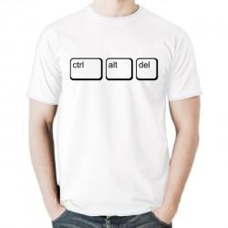 ctrl alt del koszulka męska bawełna t-shirt bawełniana z nadrukiem