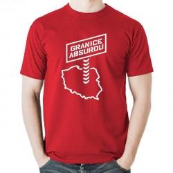 GRANICE ABSURDU koszulka męska bawełna t-shirt bawełniana z nadrukiem czerwona