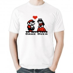 GAME OVER koszulka męska bawełna t-shirt bawełniana z nadrukiem na wieczór kawalerski lub prezent ślubny biała