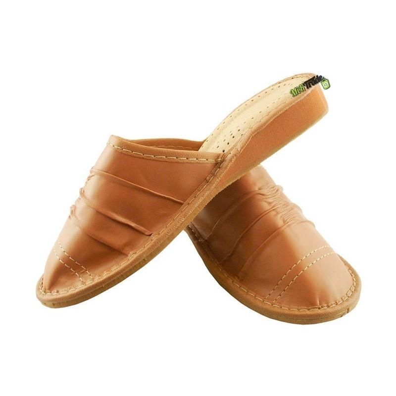 5540956c8109d ... Damskie skórzane rozmiar 38 klapki kapcie ciapy laczki pantofle papcie  góralskie łapcie domowe zakryte palce ...