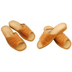 Damskie skórzane rozmiar 40 klapki kapcie ciapy laczki góralskie łapcie pantofle domowe odkryte palce KOK040