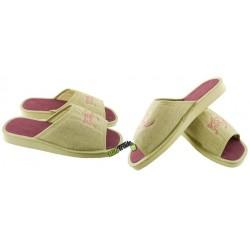 METEOR damskie rozmiar 40 klapki kapcie ciapy pantofle laczki domowe lniane łapcie papcie len damskie materiałowe odkryte palce