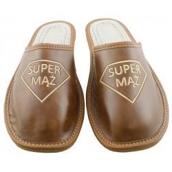 Męskie SUPER MĄŻ rozmiar 42 klapki kapcie ciapy laczki góralskie pantofle domowe łapcie papcie zakryte palce