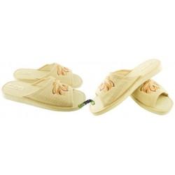 METEOR damskie rozmiar 40 lniane klapki kapcie ciapy pantofle laczki len domowe łapcie papcie materiałowe odkryte palce 015