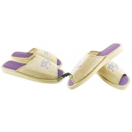 METEOR damskie rozmiar 38 klapki kapcie ciapy pantofle laczki domowe łapcie len damskie materiałowe lniane odkryte palce