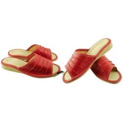 Damskie skórzane rozmiar 41 klapki kapcie ciapy laczki góralskie łapcie pantofle domowe odkryte palce KOK365
