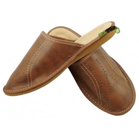 Klapki kapcie ciapy laczki pantofle chłopięce skórzane rozmiar 39